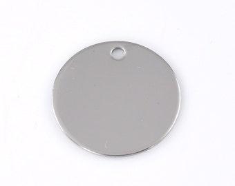 10 silver stainless steel blanks, logos, 20mm