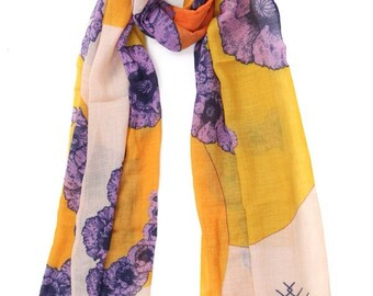 POPPY orange & purple scarf