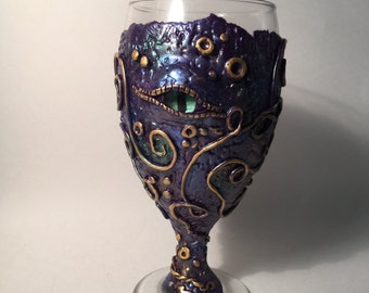 Purple dragon eye goblet or wine glass