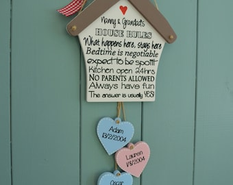 Grandparents house rules plaque, great birthday reminder personalised gift