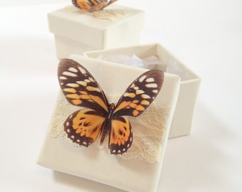 Orange Butterfly, Favour Box, Wedding Favour Box, small Jewellery Box, Gift Box, Sweetie Box, party boxes, Butterfly Box, Butterfly