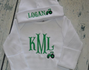 Personalized Infant Gown and Hat set Monogrammed Coming Home Outfit  Tractor