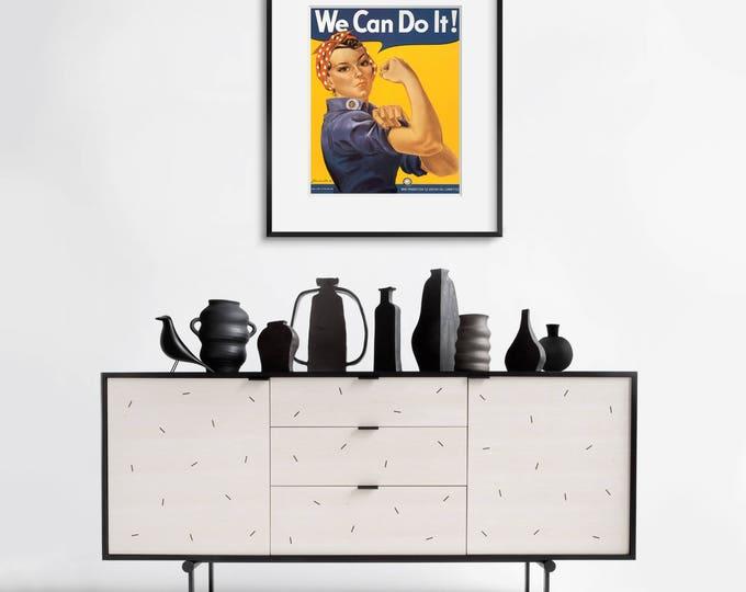 Rosie the Riveter / Girl Power Wall Art / Rockabilly / Patriotic Poster / Framed Wall Art / Home Decor / Wall Decor