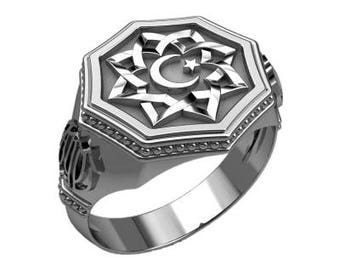 Islam Symbol Star and Crescent Moon Ring Sterling Silver 925 SKU30380