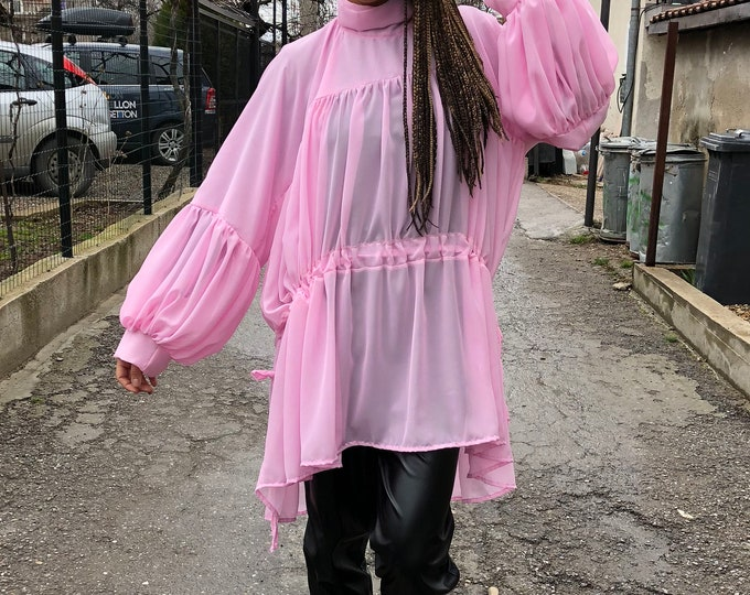 One Size Pink Tunic, Asymmetric Shirt, Oversized Long Top, Extravagant Dress, Summer Shirt, Daywear Casual Top by SSDfashion
