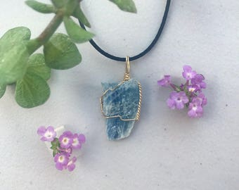Blue Kyanite Gold-Plated Wire-Wrapped Necklace