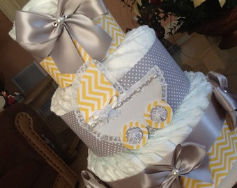Neutral diaper cake yellow and gray diaper cake neutral baby shower gift/ centerpiece