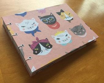 Cattitude Sketchbook // Handmade Hardcover Coptic Stitch Journal // Cute Cat Blank Book // Animal Pattern // Unique Gift Under 10