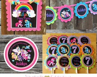 Pony Party Package -Party Bundle -Lil Pony Chalkboard Birthday Package-Banner Party Sign, Favor Tags Cupcake Topper, friendship ponies party