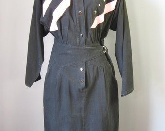 Stars and Stripes Dress / Vtg 80s / T Juniors Black Cotton Wrap Dress /