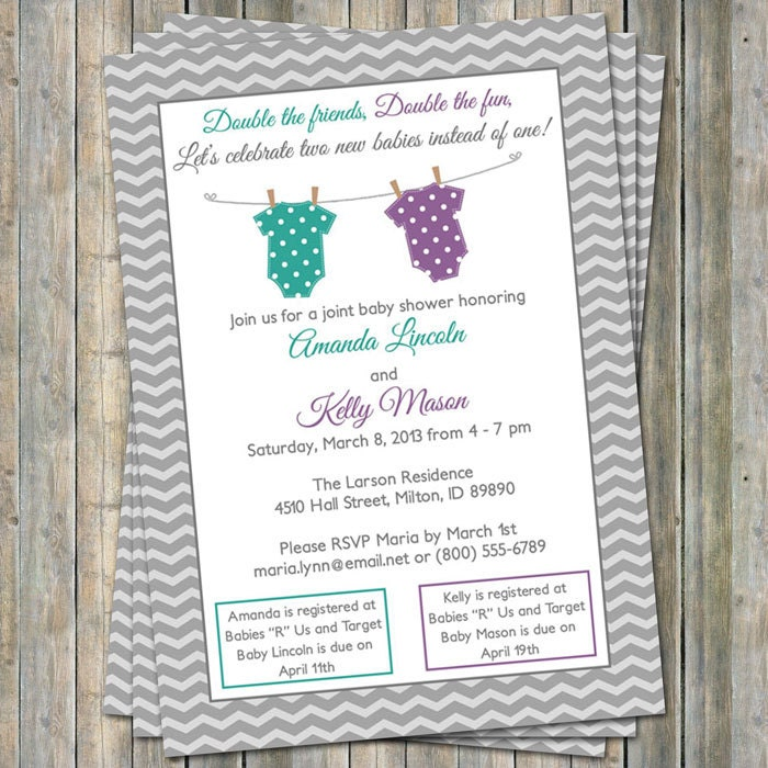 Joint Baby Shower Invitation polka dot onesies Purple and