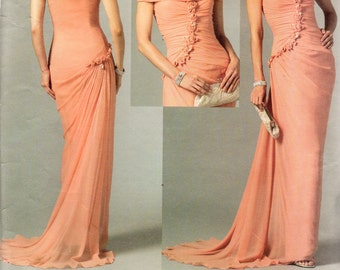 Vogue Designer Pattern 2890 Bellville Sassoon EVENING DRESS w/Train & Shrug Misses Sizes 8 10 12