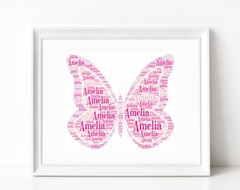 Custom BUTTERFLY Name Art Print, Butterfly Themed Room Decor, Wall Art Print Kids Room - Personalized Typography Print - Insect Art