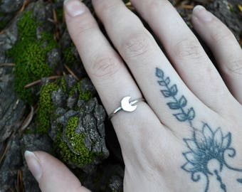 Sterling Silver Crescent Moon Stacking Ring Boho Jewelry