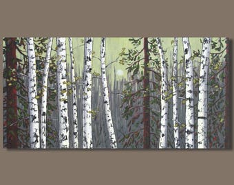 birch tree painting, landscape painting, aspens trees, oblong panoramic painting, forest painting, yellow and gray, birch trees, 18x36 art