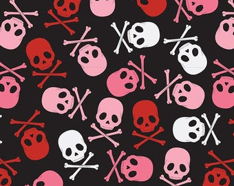 Skull Scatter Pink/Black, Goth White, Skull Fabric, by David Textiles Fabric, 100% Cotton - by the yard