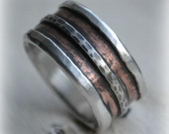 mens wedding band - rustic fine silver copper and sterling silver ring - handmade artisan designed wide band ring - manly ring, customized