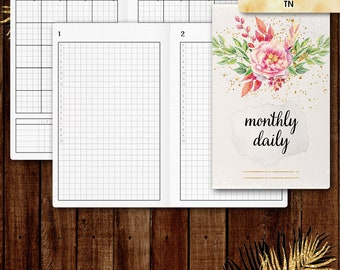 Pocket TN inserts | DAILY planner printable, day on one page (tn pocket inserts,  travelers notebook, field notes inserts)