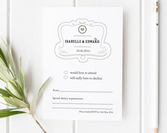 Elsie // Rustic Wedding Stationery // RSVP Card // Black White and Beige // DIY Printable File // Digital PDF File