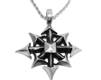 Chunky Chaostar (Chaos Star) Gothic Occult Pendant / Necklace with Chain