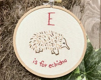 E is for Echidna Embroidered Wall Art - Nursery Alphabet - Baby E Name - Monogram Nursery - Baby Shower Gift