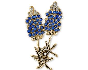 Bluebonnet Brooch Pin Jewelry 14k Gold Handmade Texas Wildflower Brooch Pin BB20-PNG