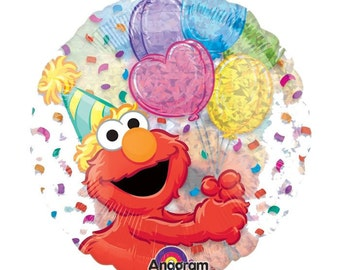 FAST SHIP TWO Elmo Birthday Balloons, Sesame Street Party Balloons, Elmo Mylar Balloon, Elmo Foil Balloon, Elmo Party Supplies, Holographic