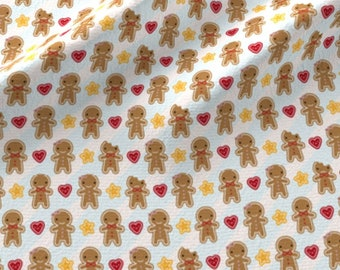 Kawaii Gingerbread Fabric - Mini Cookie Gingerbread Men By Marcelinesmith - Kawaii Gingerbread Cotton Fabric By The Yard With Spoonflower