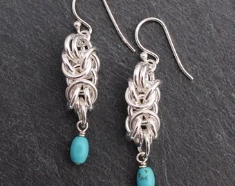 Byzantine Chain Maille Earrings, Sterling Silver, Turquoise Earrings, Chain Maille, Chain Mail, Ren Faire, Renaissance Faire, Wire Earrings