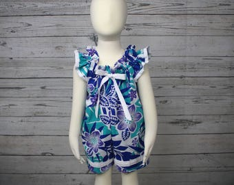 2T Purple and Blue Floral Cotton Pull On Romper