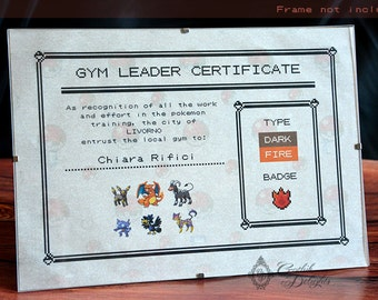 Pokemon Gym leader certificate - Customizable with name, type and team!