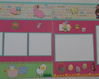 Easter 2 page layout; easter pages; 12x12 scrapbook pages; easter eggs; easter bunny; Easter layout; premade Easter layout; Easter pages