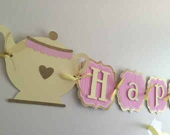 Tea party birthday banner, teapot banner, tea party decoration, Alice in wonderland party!