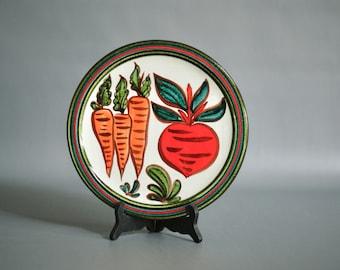 SWISS Ceramic Wall Plate by Gebrüder Haas, 1960s Ceramic Wall Plate, Ceramic Kitchen Wall Plate, Swiss Studio Pottery, a