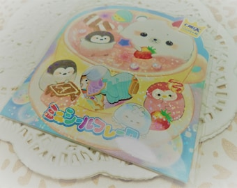 42 Pc. Kawaii sticker flakes Shombori Azarashi cute planner stickers, scrapbooking, Snail Mail, Pen pal, School Stationery, Diy, Cell phone.