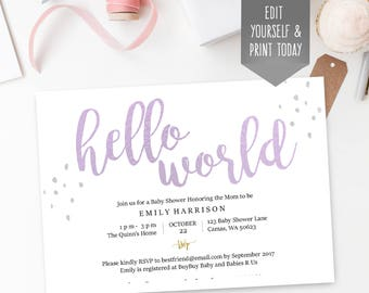 Purple baby shower invitation, Hello World, lavender, editable PDF template, instant download, editable, simple, print at home