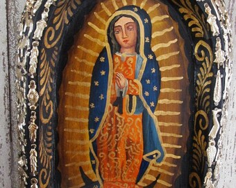 Ex Voto Retablo Virgin Guadalupe Nicho Mexican Milagro Charms Our Lady of Guadalupe