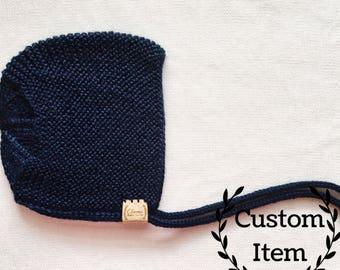 Simple Bonnet / Knit Baby Bonnet / Newborn Baby Hat / Photo Prop / Baby Boy Bonnet / Baby Girl Bonnet