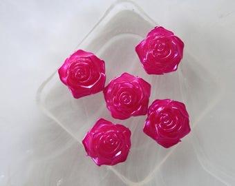 hot pink flower cabochon resin scrapbooking