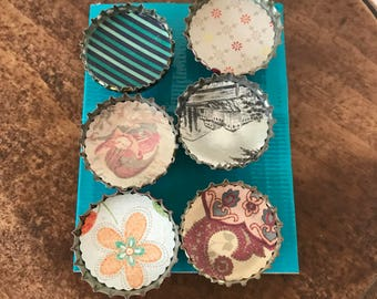Re-Purposed Whimsical Bottle Cap Magnets - Set of 6 - Scrapbook Paper, STRONG Magnet