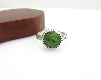 Chrome Diopsode Sterling Silver Ring Size 6 Ready to ship Size 6 Ring Green Gemstone Sterling Silver Handmade Metalwork Jewelry