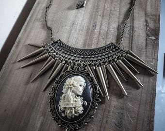 """Necklace bronze goth pentagram cameo """"666 Day of the Dead 666"""""""