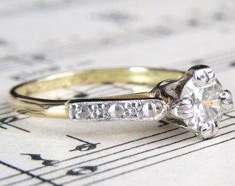 Art Deco 18 Carat Gold 0.54 Carat Transitional Cut Diamond Solitaire Ring