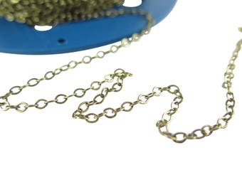 Antiqued Brass Flat Cable Chain (4 feet) (C926-E)