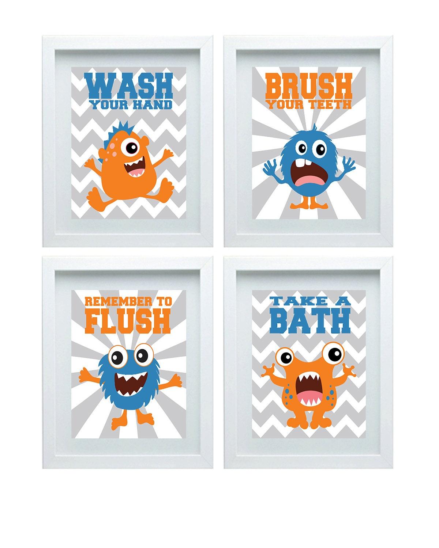 Monster Bathroom Decor Bathroom Rules Kids Bathroom Art