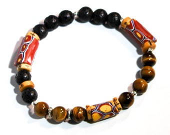 Mens Bead Bracelet  - Mens Tribal Bracelet - Trade Bead Bracelet- Boho Bead Bracelet - Boho Jewelry - Mens Boho Bracelet - Fathers Day Gift