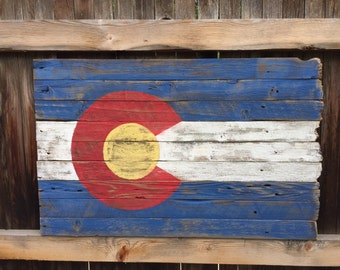 Rustic Wood Colorado Flag