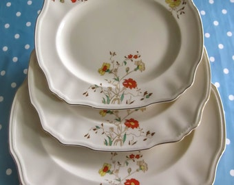 Vintage serving plate, serving platter trio, meat plate, Art deco, Alfred meakin, marigold pattern, Large oval plate, afternoon tea party.