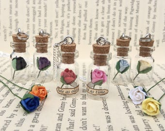 Tale As Old As Time, Rose in a Bottle Necklace / Pendant / Bookmark / Earrings / Decoration / Keyring inspired by Beauty and the Beast