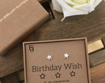 "Sterling Silver ""Birthday Wish"" Star Studs"